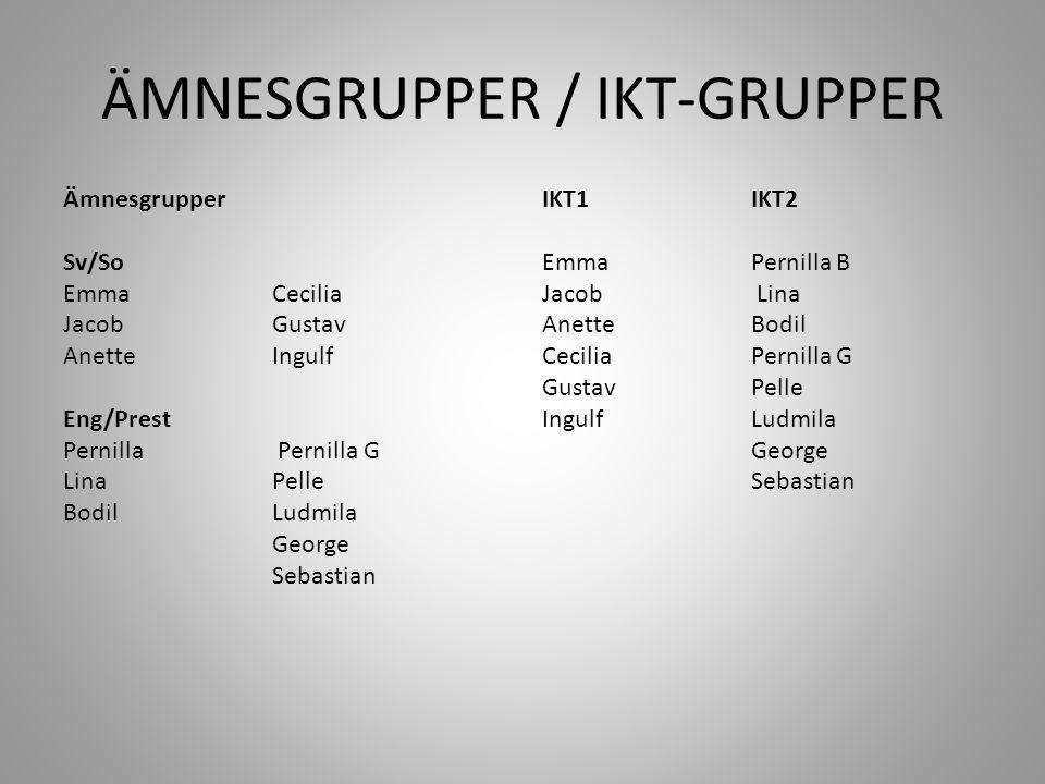 ÄMNESGRUPPER / IKT-GRUPPER