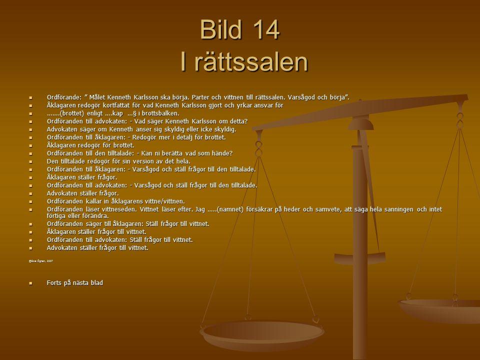 Bild 14 I rättssalen Ordförande: Målet Kenneth Karlsson ska börja. Parter och vittnen till rättssalen. Varsågod och börja .