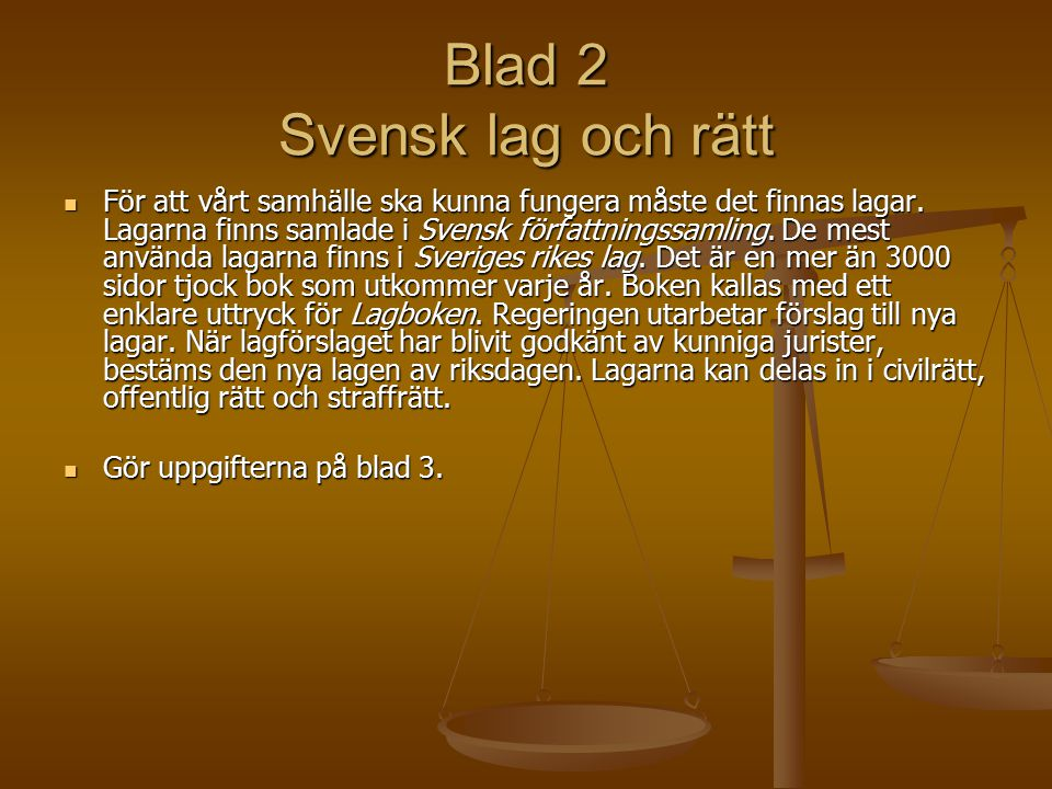 Blad 2 Svensk lag och rätt
