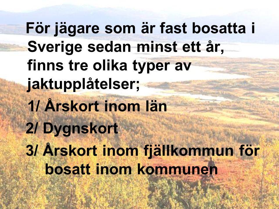 För jägare som är fast bosatta i Sverige sedan minst ett år, finns tre olika typer av jaktupplåtelser;