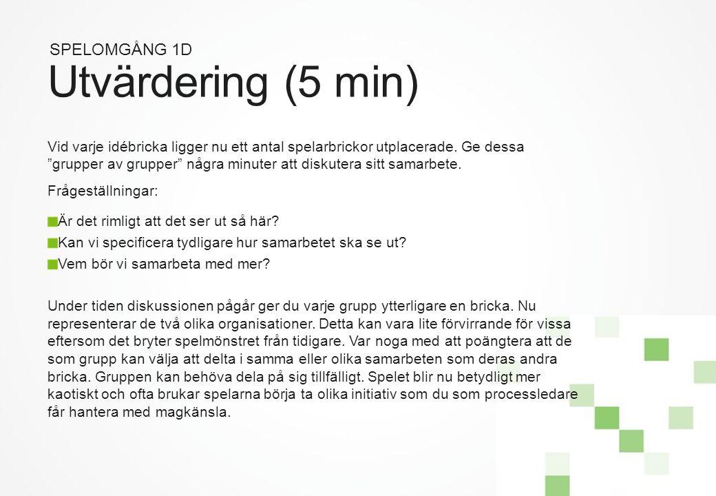 Utvärdering (5 min) SPELOMGÅNG 1D