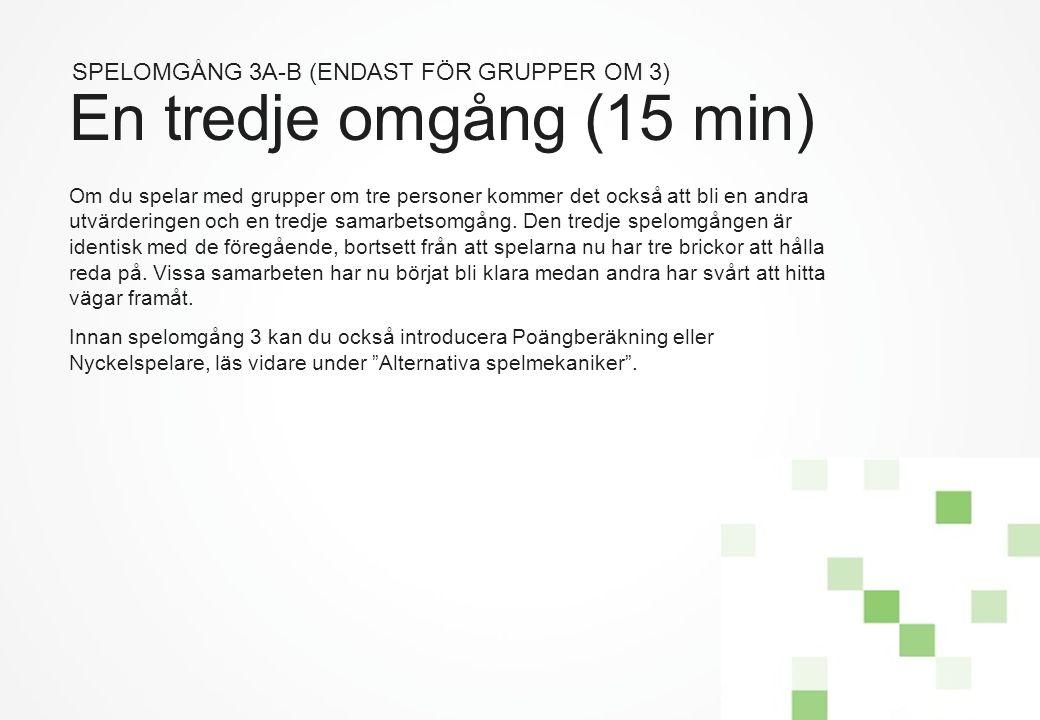 En tredje omgång (15 min) SPELOMGÅNG 3A-B (ENDAST FÖR GRUPPER OM 3)
