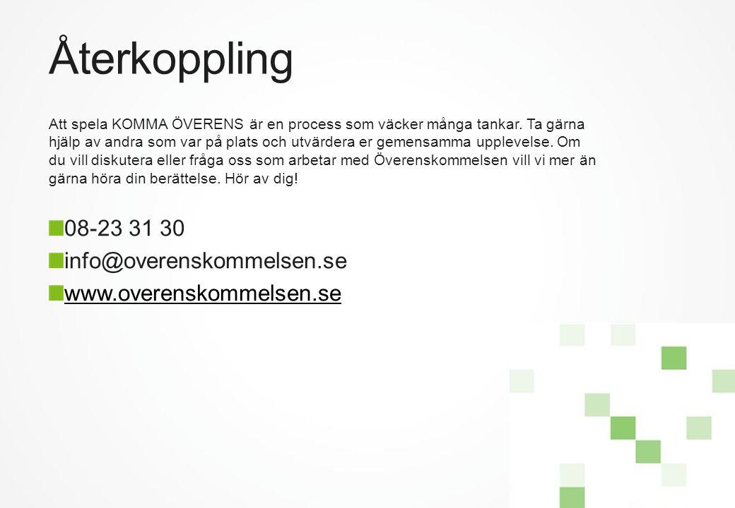Återkoppling 08-23 31 30 info@overenskommelsen.se