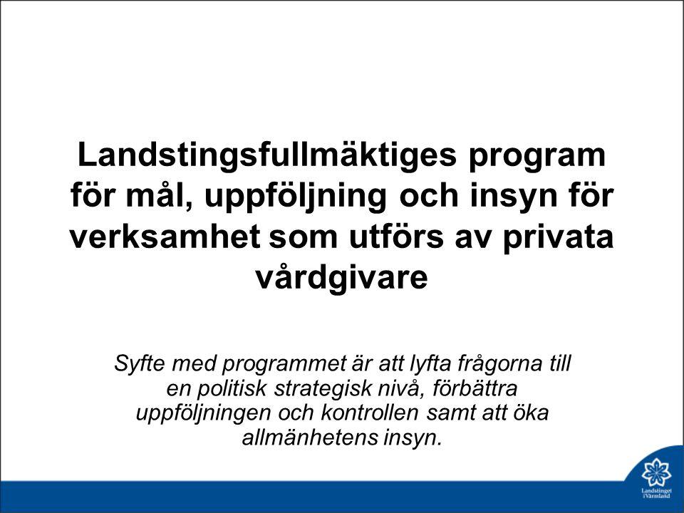 Landstingsfullmäktiges program för mål, uppföljning och insyn för verksamhet som utförs av privata vårdgivare