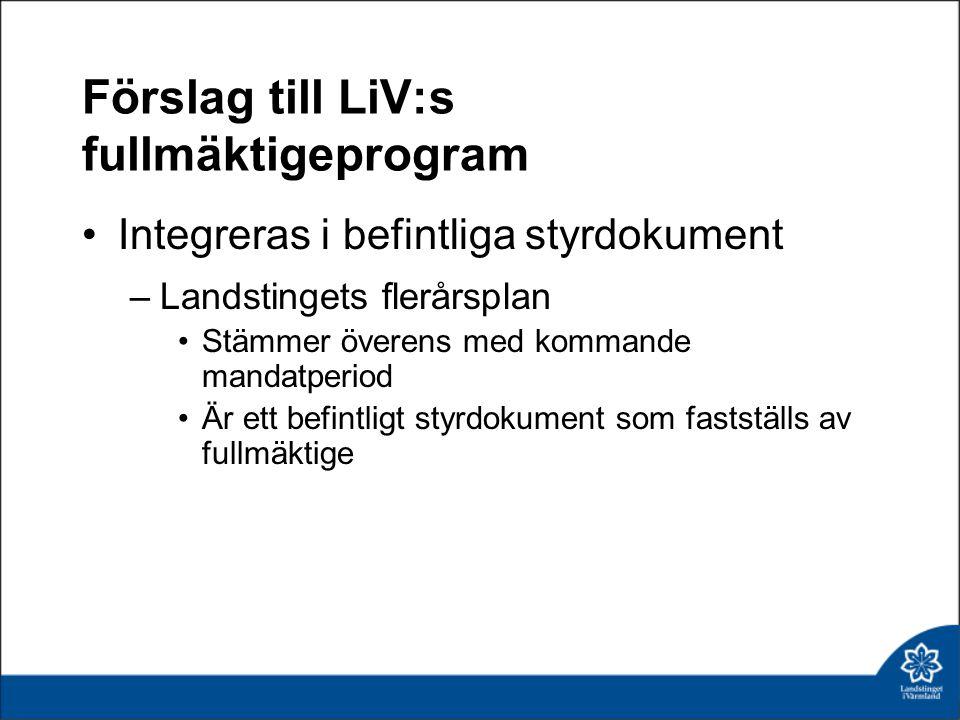 Förslag till LiV:s fullmäktigeprogram