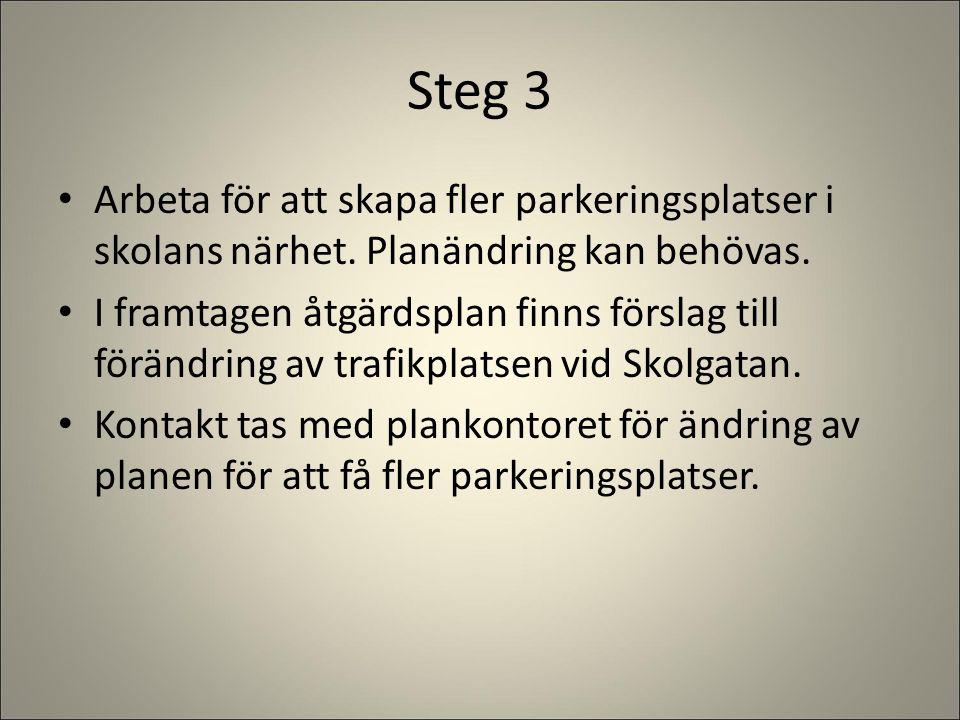 Steg 3 Arbeta för att skapa fler parkeringsplatser i skolans närhet. Planändring kan behövas.