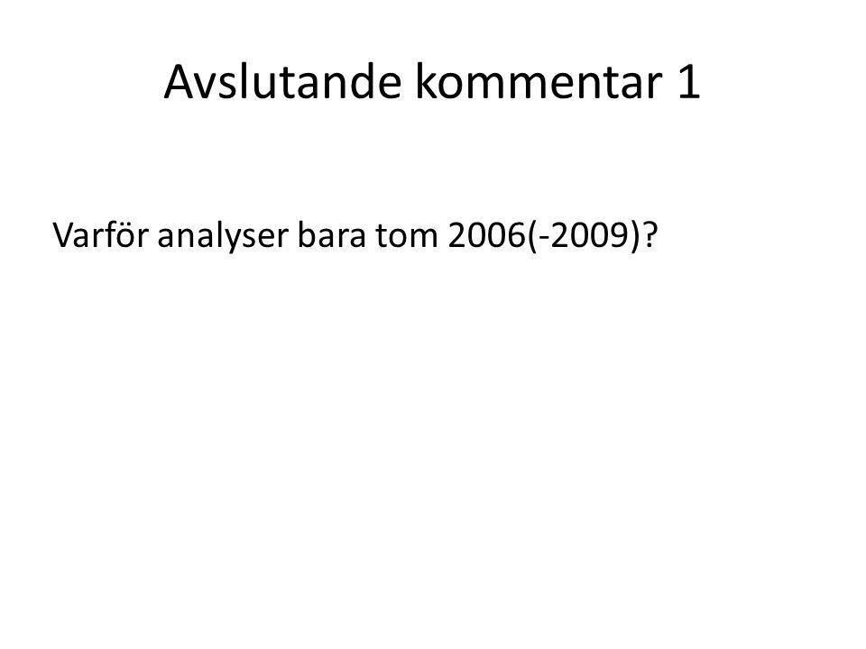 Avslutande kommentar 1 Varför analyser bara tom 2006(-2009)