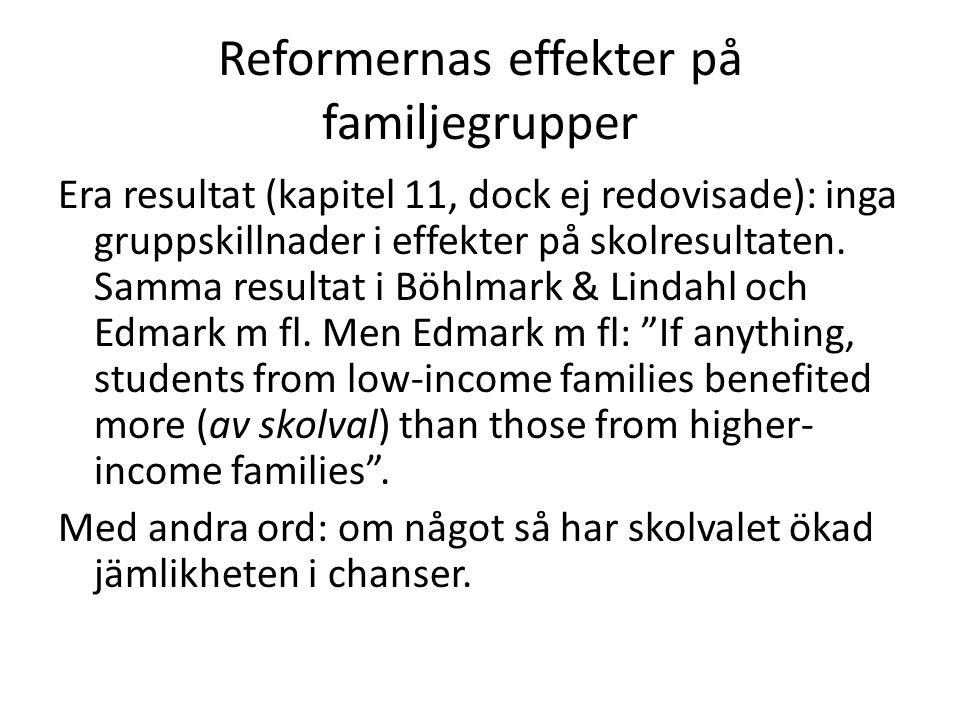 Reformernas effekter på familjegrupper
