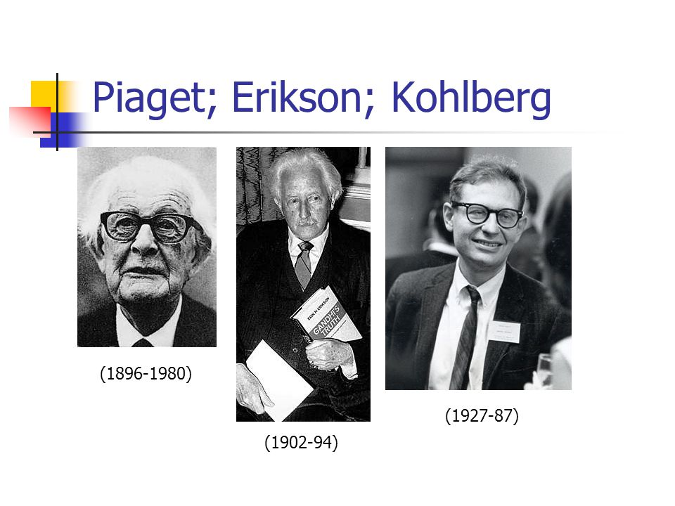 piaget kohlberg and erikson We will compare ethical theorists in psychology (freud, piaget, erikson, kohlberg, bandura) and survey their theories with an eye on infertility.