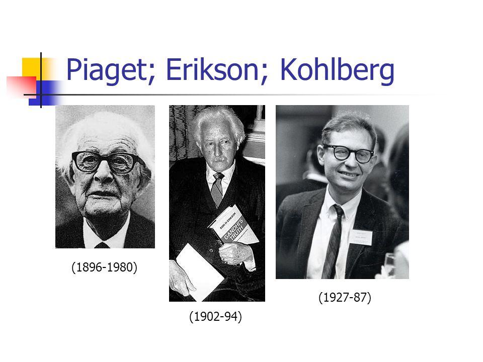 Piaget; Erikson; Kohlberg