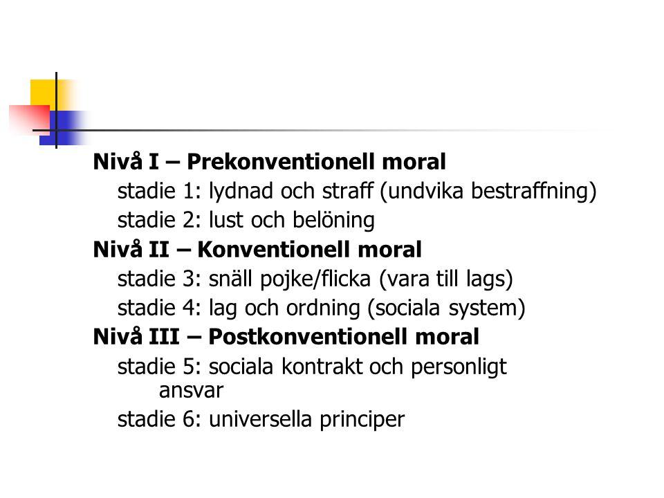 Nivå I – Prekonventionell moral