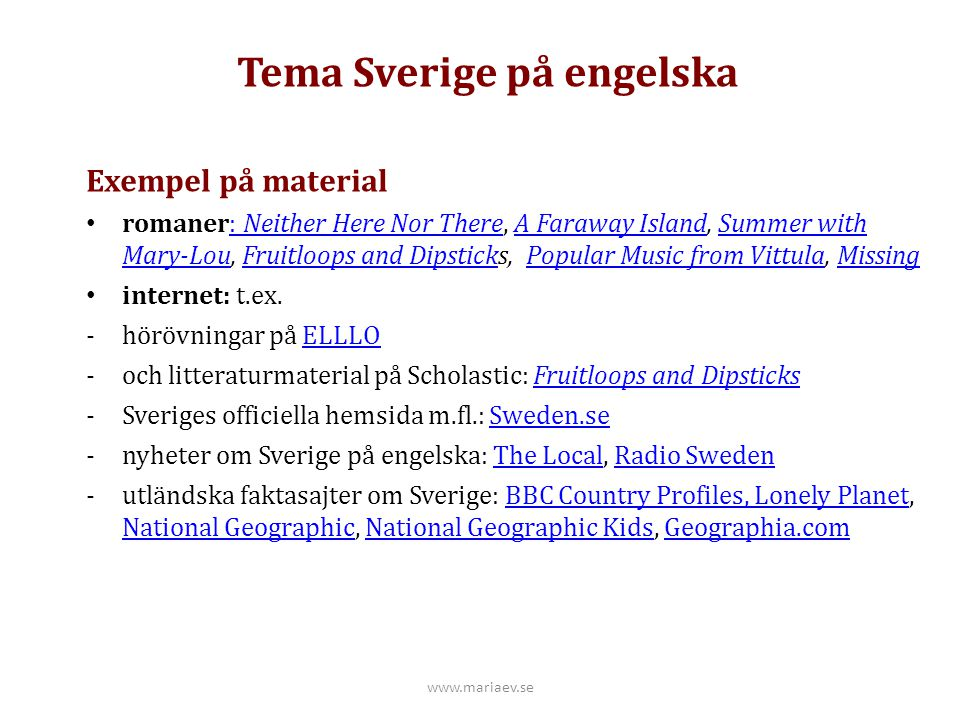Tema Sverige på engelska