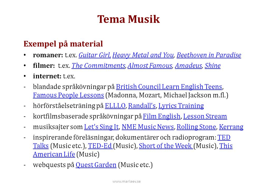 Tema Musik Exempel på material
