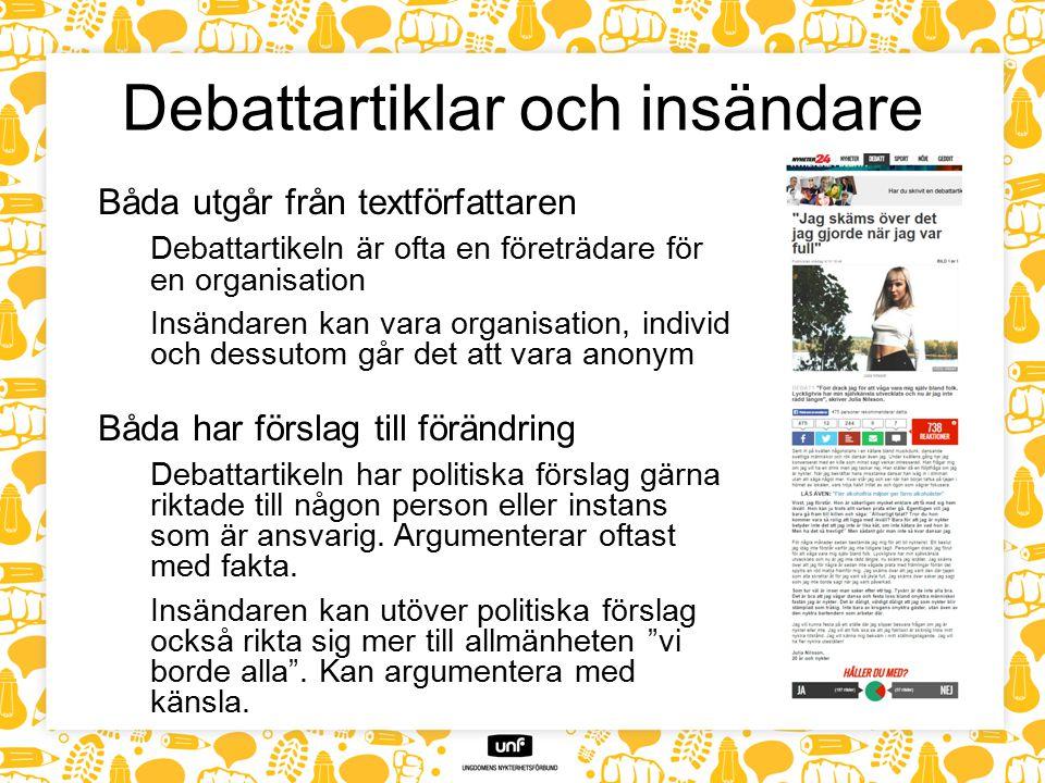 Debattartiklar och insändare