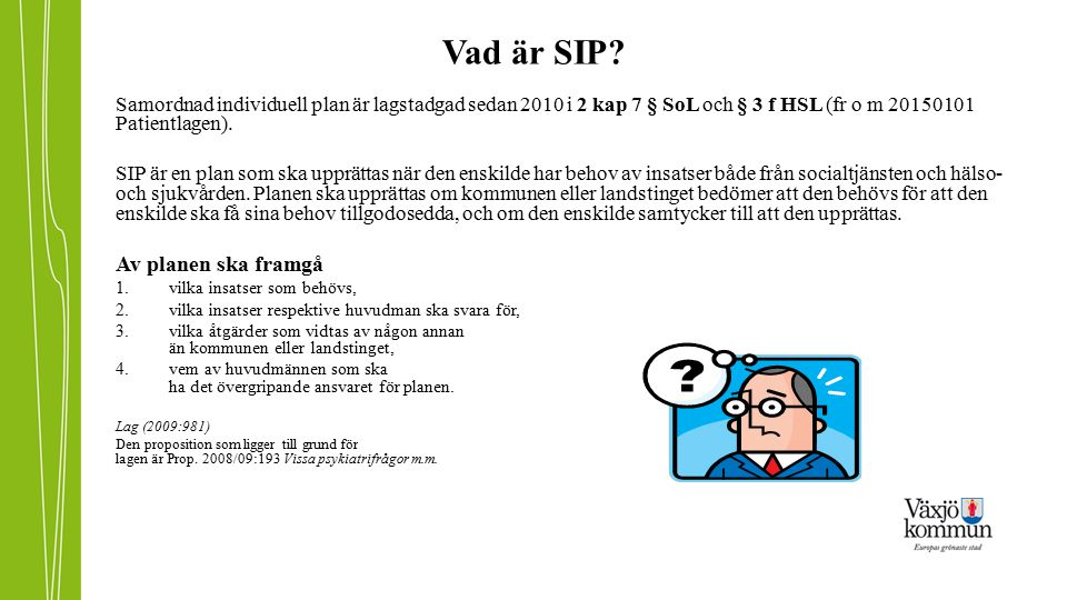Vad är SIP Av planen ska framgå