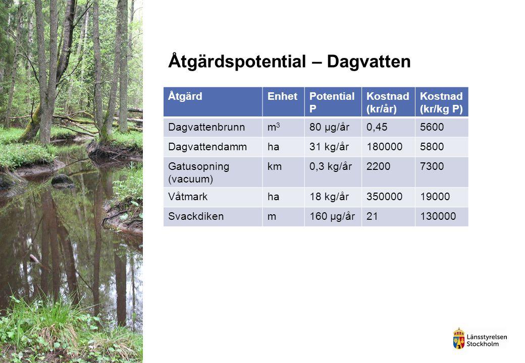 Åtgärdspotential – Dagvatten