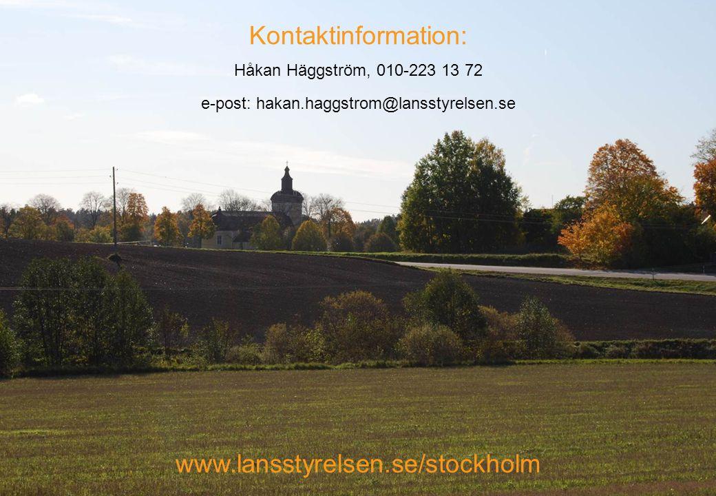 Kontaktinformation: Håkan Häggström, 010-223 13 72