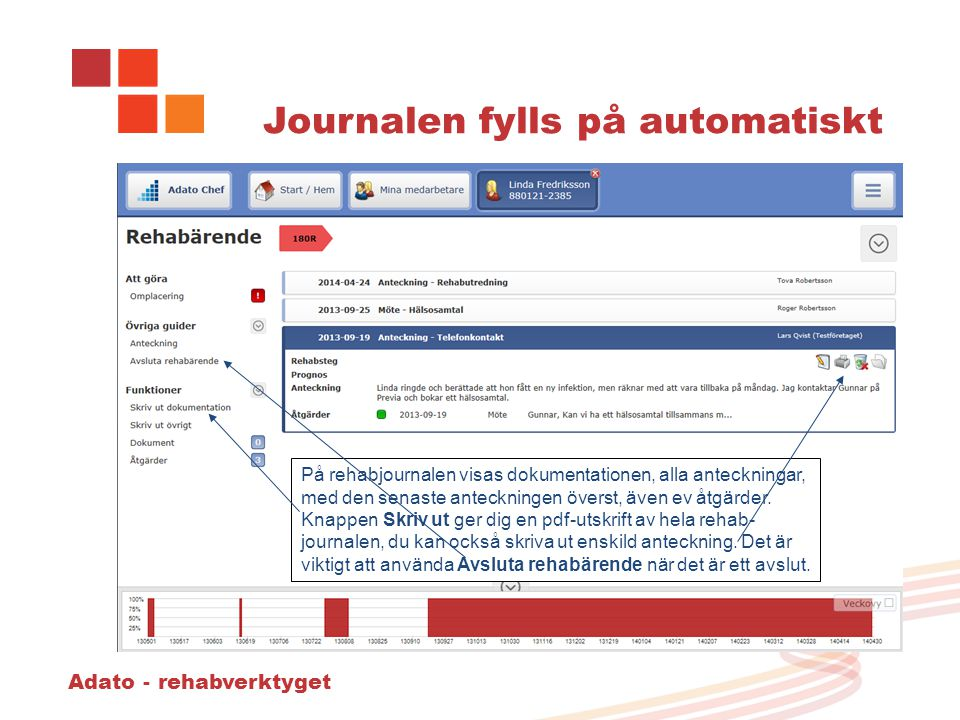 Journalen fylls på automatiskt