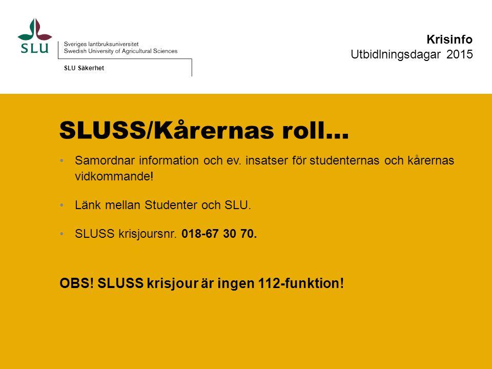 SLUSS/Kårernas roll… OBS! SLUSS krisjour är ingen 112-funktion!