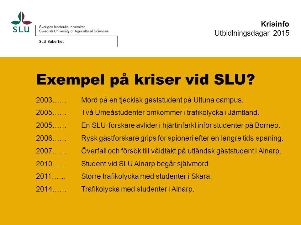 Exempel på kriser vid SLU