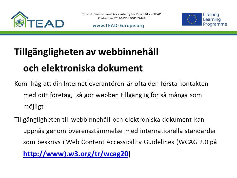 Tillgängligheten av webbinnehåll och elektroniska dokument