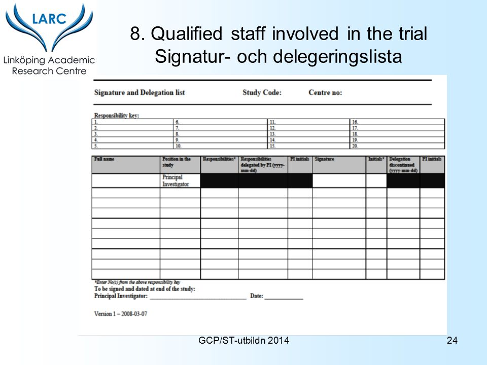 8. Qualified staff involved in the trial Signatur- och delegeringslista