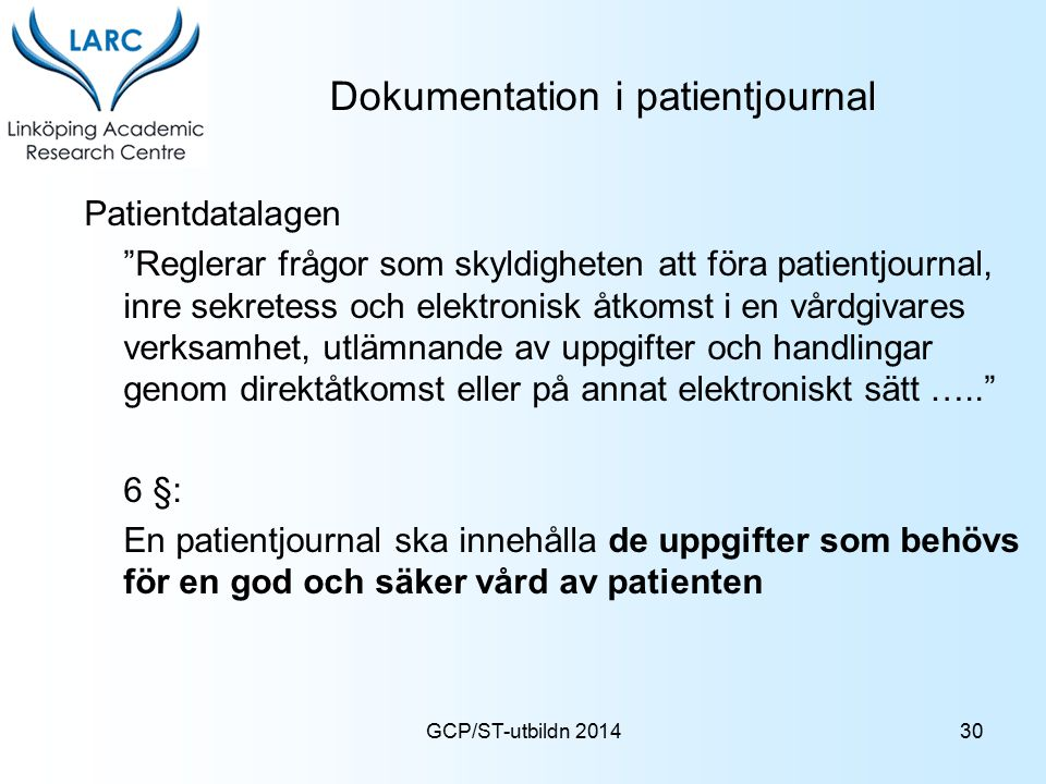 Dokumentation i patientjournal