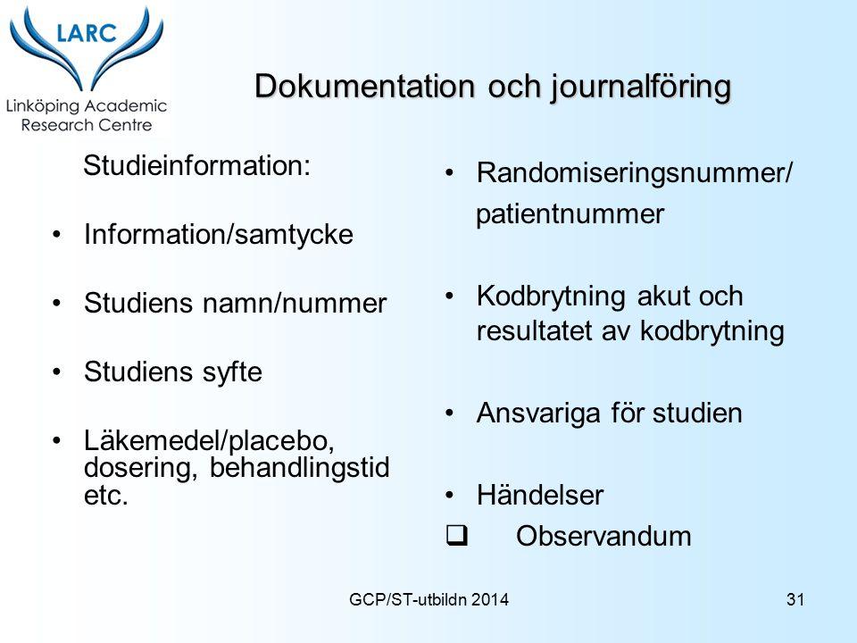 Dokumentation och journalföring