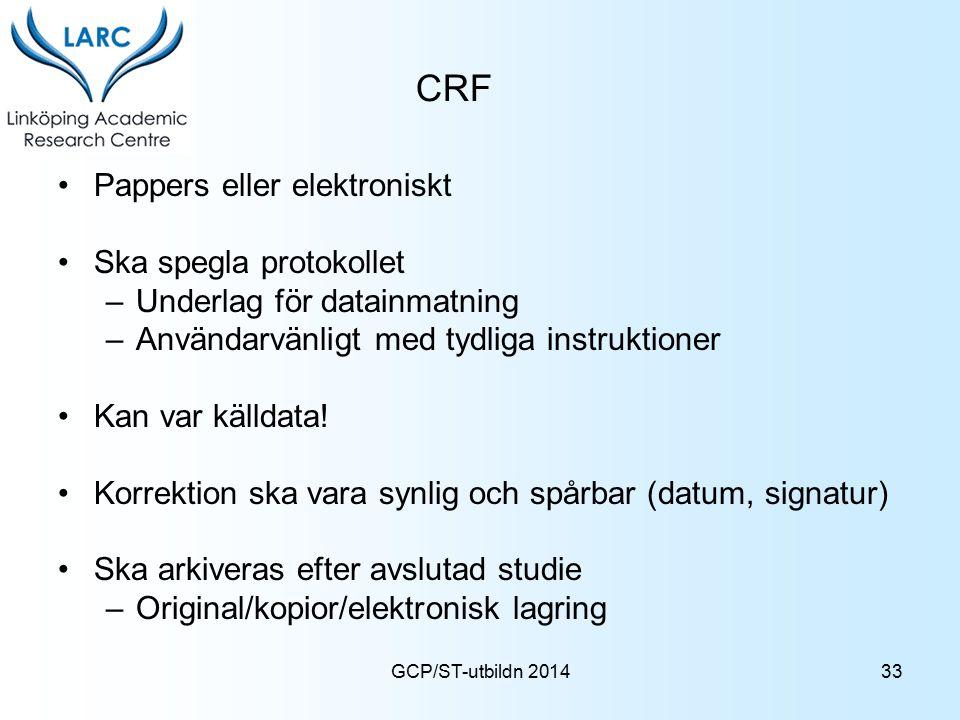 CRF Pappers eller elektroniskt Ska spegla protokollet