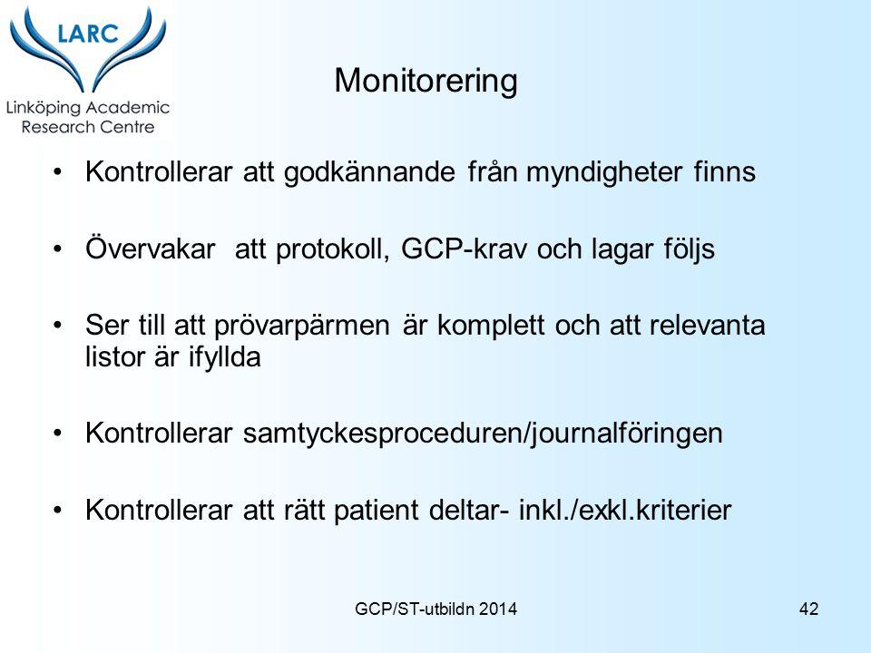 Monitorering Kontrollerar att godkännande från myndigheter finns