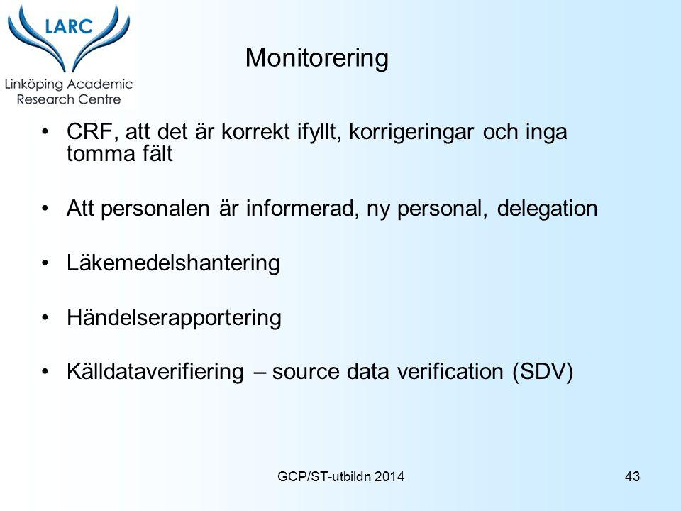 Monitorering CRF, att det är korrekt ifyllt, korrigeringar och inga tomma fält. Att personalen är informerad, ny personal, delegation.