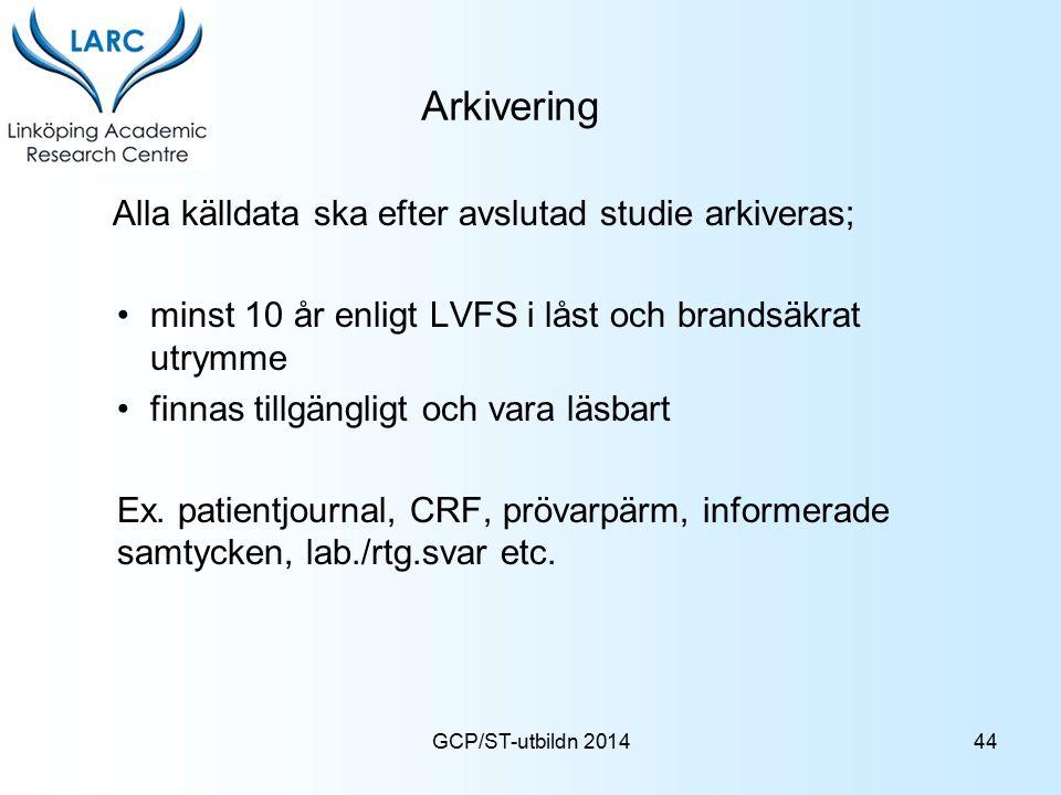 Arkivering Alla källdata ska efter avslutad studie arkiveras;