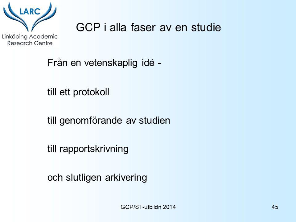 GCP i alla faser av en studie