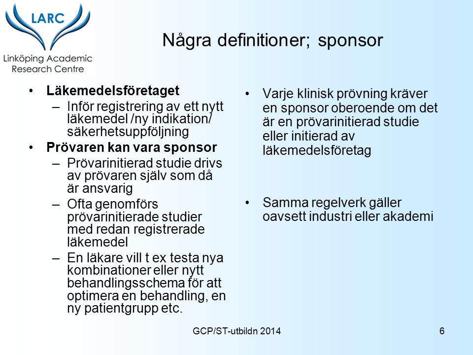 Några definitioner; sponsor