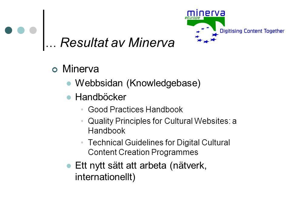 … Resultat av Minerva Minerva Webbsidan (Knowledgebase) Handböcker