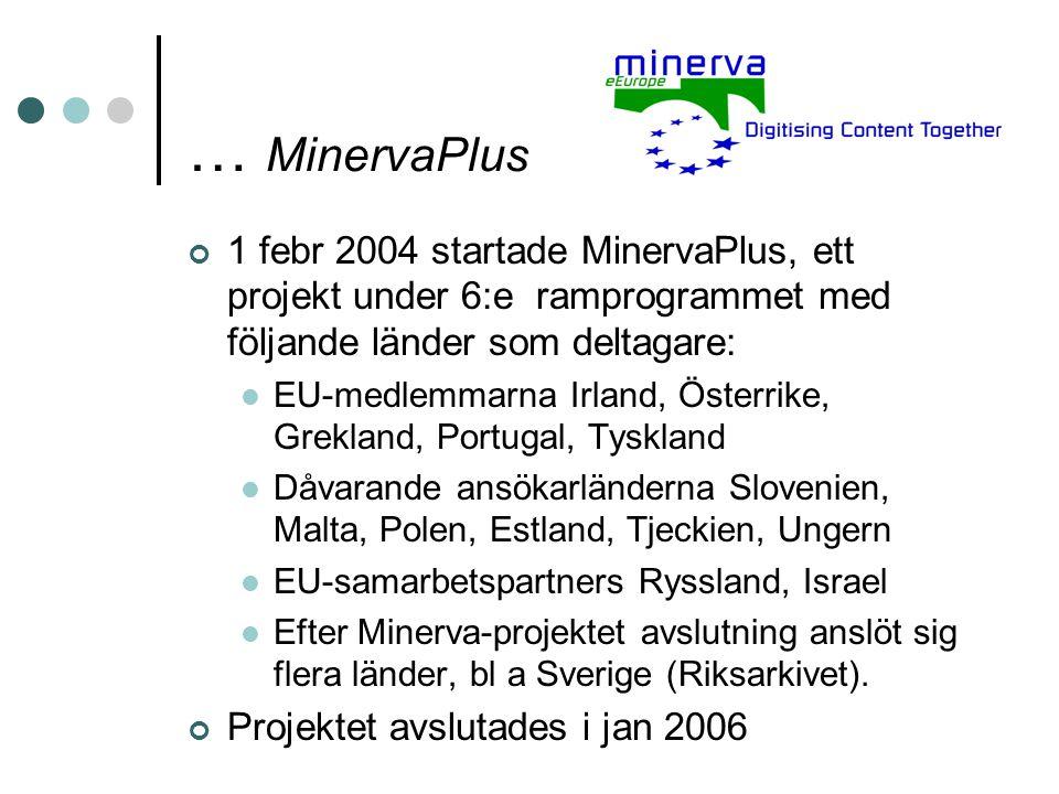 … MinervaPlus 1 febr 2004 startade MinervaPlus, ett projekt under 6:e ramprogrammet med följande länder som deltagare: