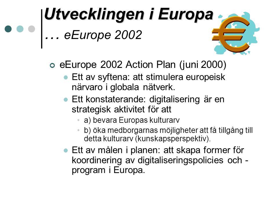 Utvecklingen i Europa … eEurope 2002