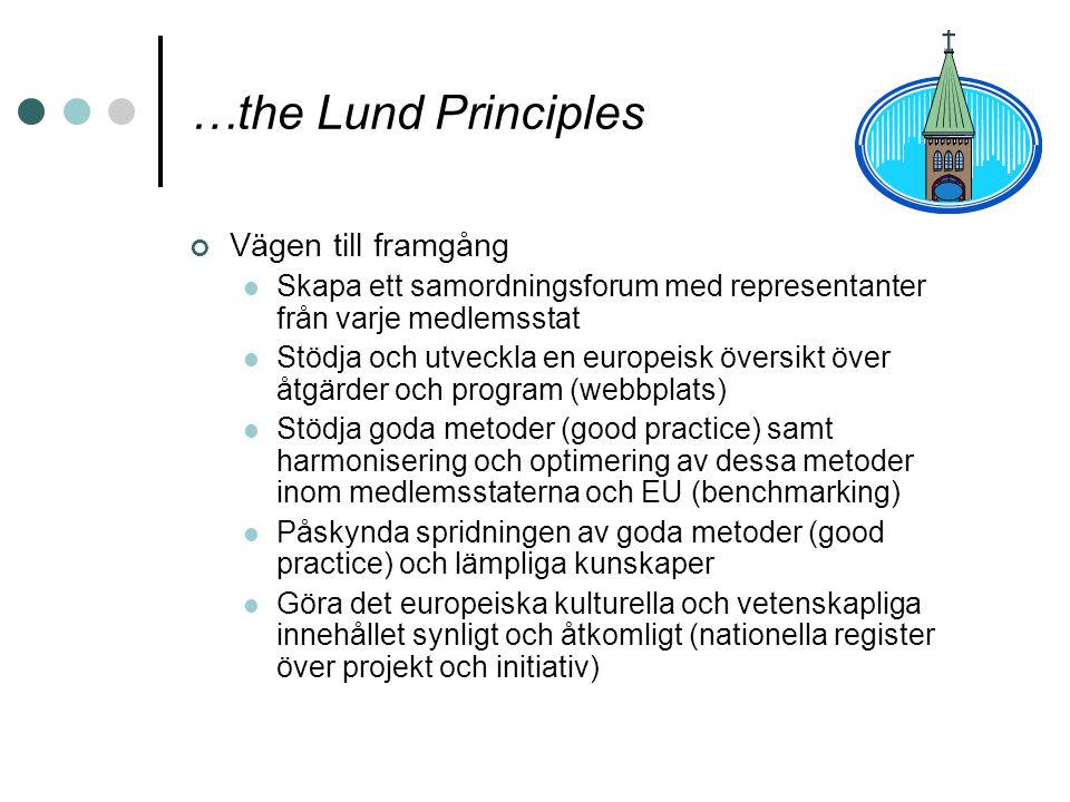 …the Lund Principles Vägen till framgång