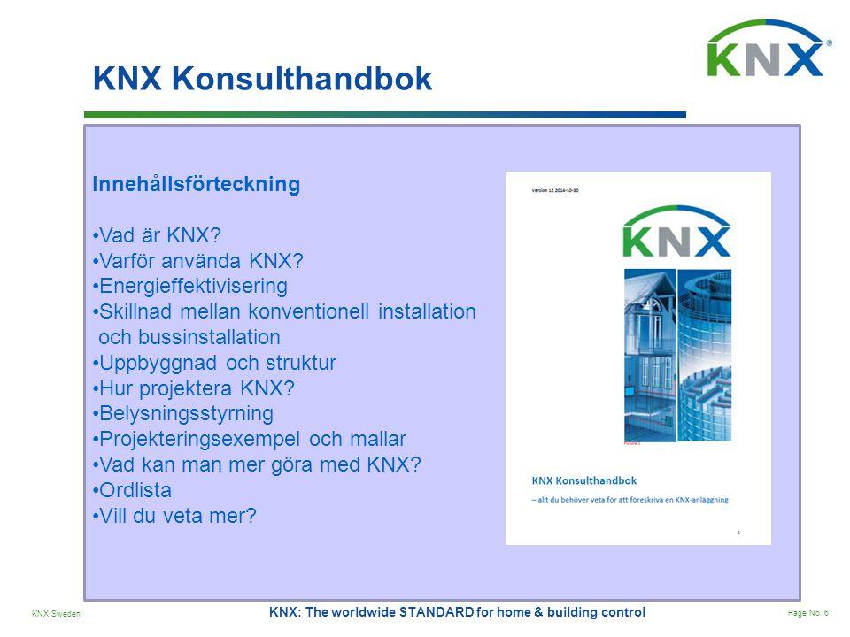 KNX Konsulthandbok Innehållsförteckning Vad är KNX