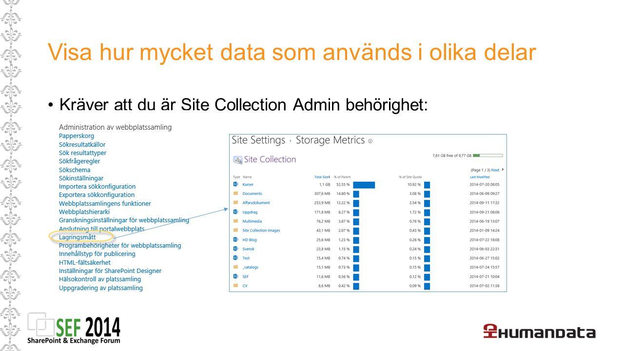 Visa hur mycket data som används i olika delar