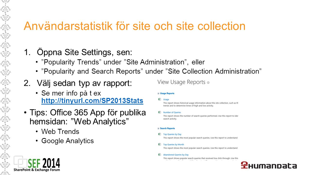 Användarstatistik för site och site collection