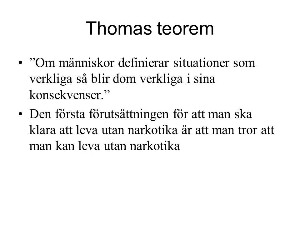 Thomas teorem Om människor definierar situationer som verkliga så blir dom verkliga i sina konsekvenser.