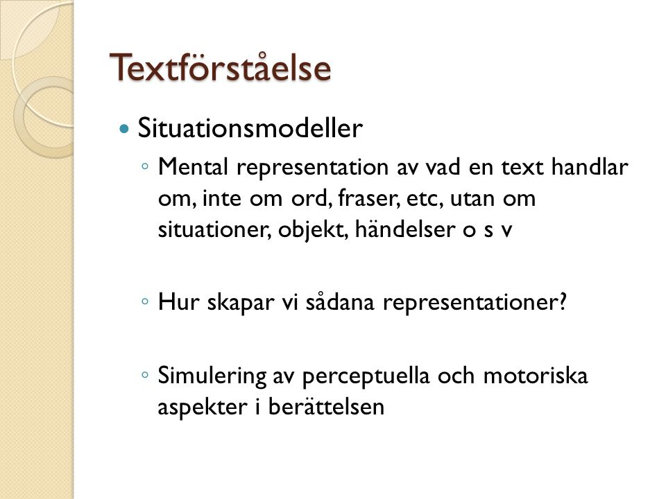 Textförståelse Situationsmodeller