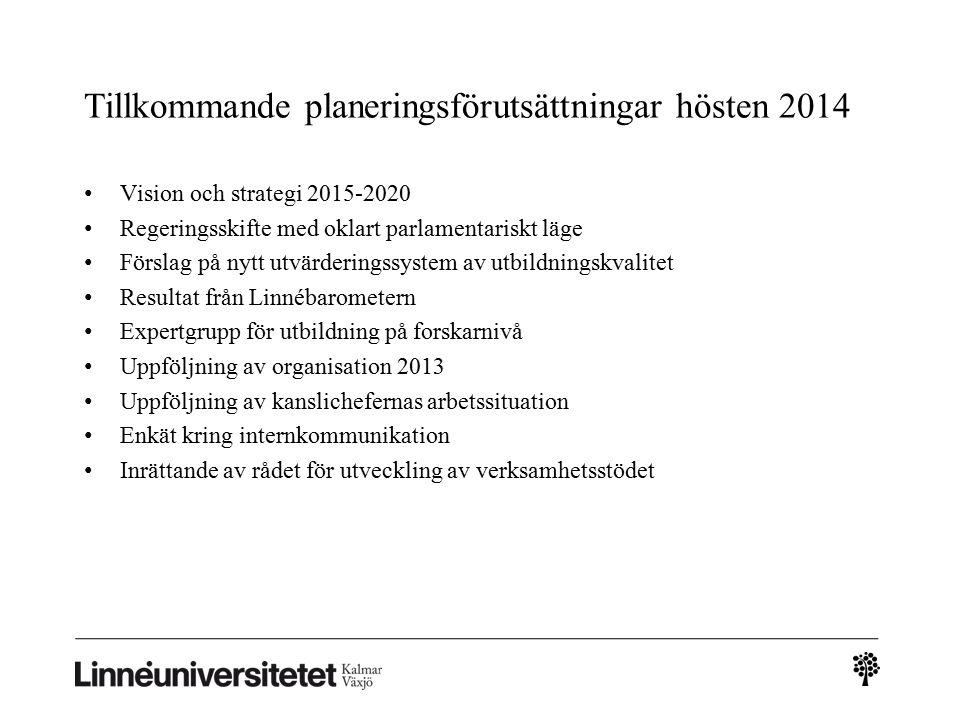 Tillkommande planeringsförutsättningar hösten 2014