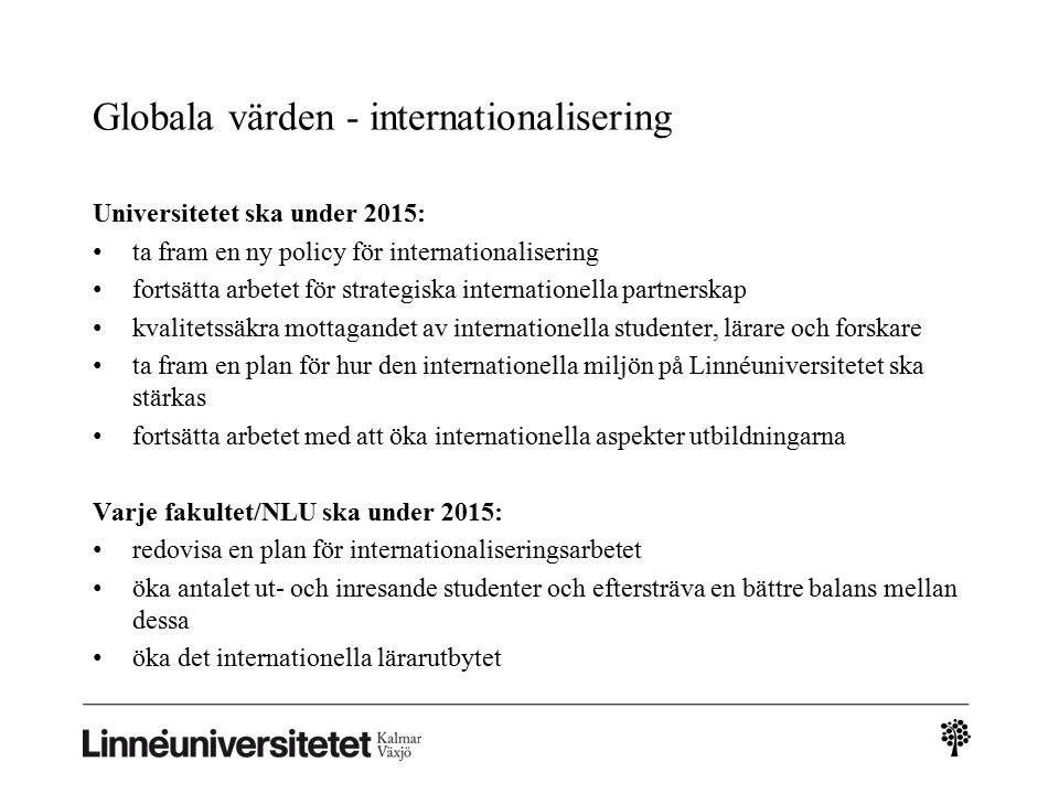 Globala värden - internationalisering