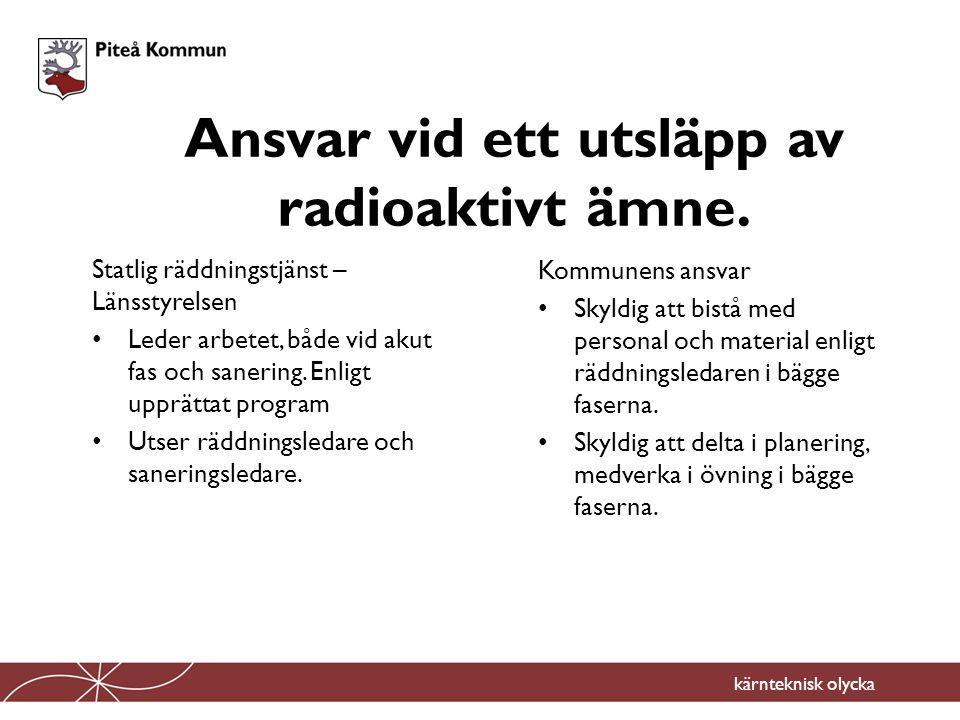 Ansvar vid ett utsläpp av radioaktivt ämne.