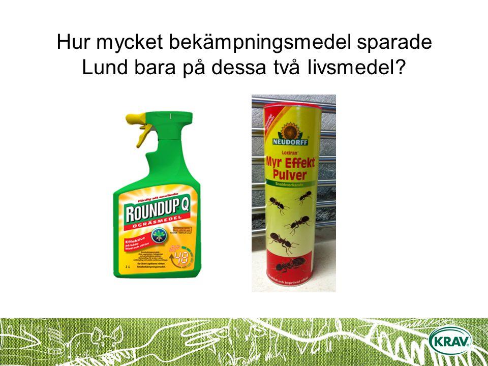 Hur mycket bekämpningsmedel sparade Lund bara på dessa två livsmedel
