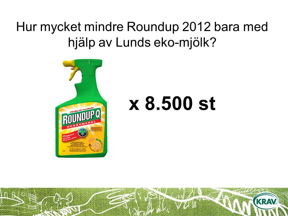 Hur mycket mindre Roundup 2012 bara med hjälp av Lunds eko-mjölk