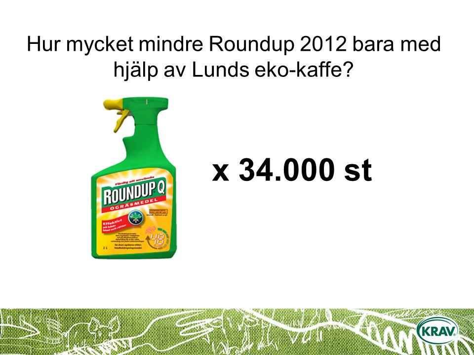Hur mycket mindre Roundup 2012 bara med hjälp av Lunds eko-kaffe