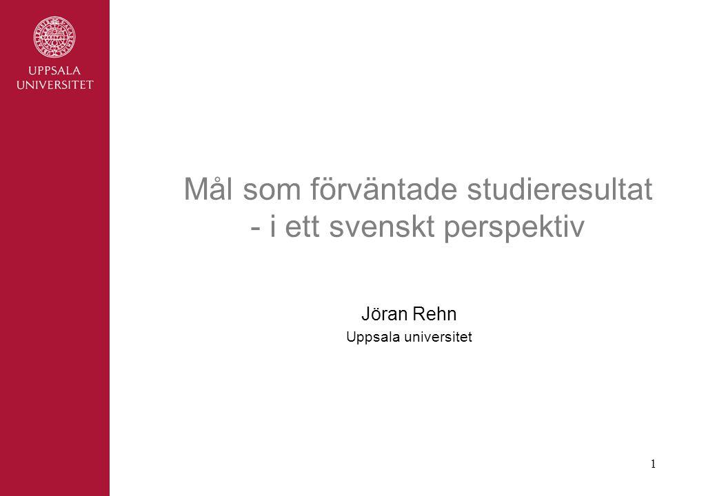 Mål som förväntade studieresultat - i ett svenskt perspektiv